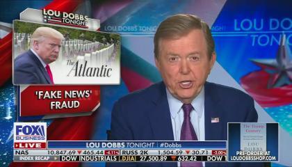 "Trump and Atlantic logo next to ""FAKE NEWS FRAUD"""