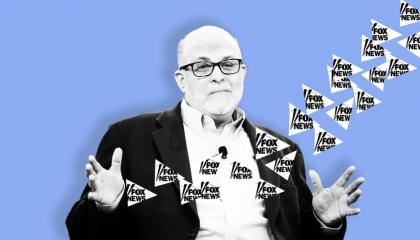 Cartoon mark levin behind lilac background
