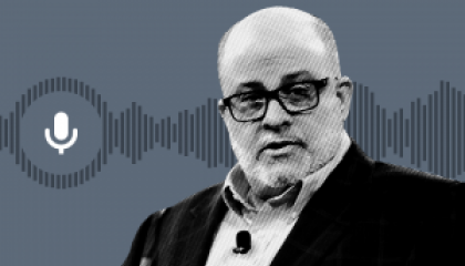 gray background with clip art image of gray soundwave and white microphone; black and white image of Mark Levin