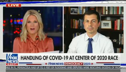 "chyron reads: ""handling of COVID-19 at center of 2020 race"""