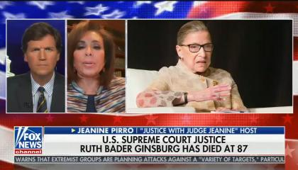 chyron reads: US Supreme court justice Ruth Bader Ginsburg has died at 87