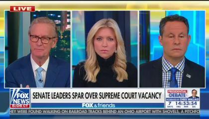 "The three Fox & Friends co-hosts, socially distanced in-studio, with chyron ""Senate leaders spar over Supreme Court vacancy"""