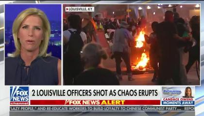 "chyron reads, ""2 LOUISVILLE OFFICERS SHOT AS CHAOS ERUPTS"""