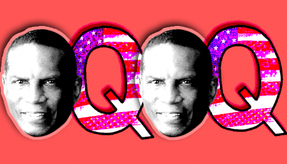 An image of Burgess Owens and QAnon