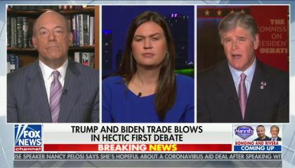 "chyron reads, ""TRUMP AND BIDEN TRADE BLOWS IN FIRST HECTIC DEBATE"""