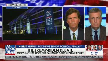 "chyron reads, ""THE TRUMP-BIDEN DEBATE: TOPICS INCLUDE RIOTS, THE PANDEMIC & THE SUPREME COURT"""