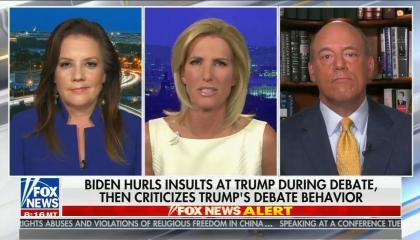 split screen of Mollie Hemingway, Laura Ingraham, Ari Fleischer; chyron reads: Biden hurls insults at Trump during debate, then criticizes Trump's debate behavior