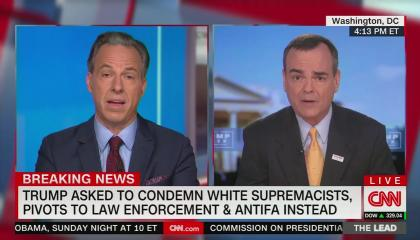 "chyron reads, ""TRUMP ASKED TO CONDEMN WHITE SUPREMACISTS, PIVOTS TO LAW ENFORCEMENT & ANTIFA INSTEAD"""