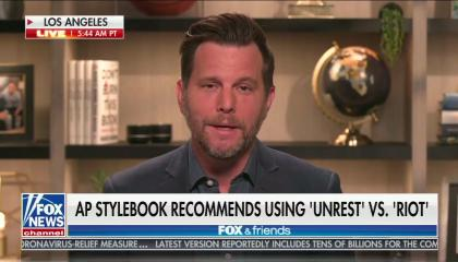 "Podcast guy Dave Rubin above a Fox chyron reading ""AP stylebook recommends using 'unrest' vs. 'riot'"""