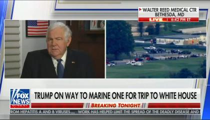 """chyron reads: """"Trump on way to Marine One for trip to White House"""""""