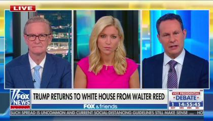 """The Fox & Friends co-hosts discussing """"Trump returns to White House from Walter Reed"""""""