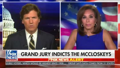 "chyron reads: ""Grand jury indicts the McCloskeys"""