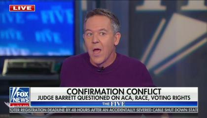 """chyron reads, """"CONFIRMATION CONFLICT: JUDGE BARRETT QUESTIONED ON ACA, RACE, VOTING RIGHTS"""""""