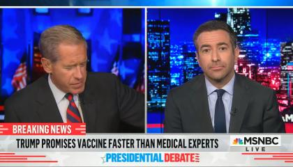 "chyron reads: ""Trump promises vaccine faster than medical experts"""