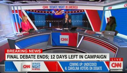 Jake Tapper, Abby Phillip, Dana Bash; chyron: Final debate ends; 12 days left in campaign