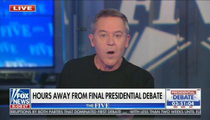 Greg Gutfeld with black shirt sitting in chair, chyron reads: Hours away from final presidential debate
