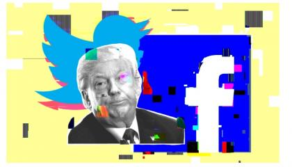 Donald Trump and logos for Facebook and Twitter