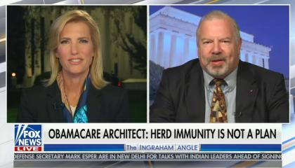 chyron reads: Obamacare architect: Herd immunity is not a plan