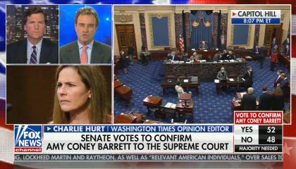 chyron reads: Senate votes to confirm Amy Coney Barrett to the Supreme Court