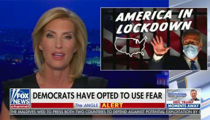 "chyron reads, ""DEMOCRATS HAVE OPTED TO USE FEAR"""