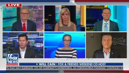 The three co-hosts of weekday Fox & Friends on the top row of talking heads, with the three weekend co-hosts on the bottom row