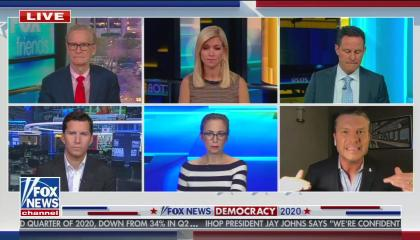 The three co-hosts of weekday Fox & Friends on a top row of talking heads, with the three weekend Fox & Friends hosts on the bottom row.