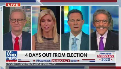 """The co-hosts of Fox & Friends, and Geraldo Rivera, above a chyron reading """"4 days out from election"""""""