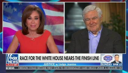 split screen of Jeanine Pirro, Newt Gingrich; chyron: Race for the White House nears the finish line