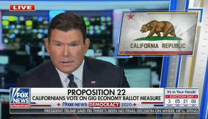 Bret Baier; California flag; chyron: Proposition 22, Californians vote on gig economy ballot measure