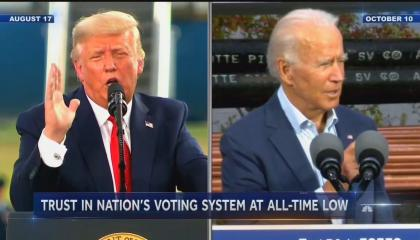 "chyron reads, ""TRUST IN NATION'S VOTING SYSTEM AT ALL-TIME LOW"""