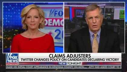 "Fox anchor Shannon Bream and senior political analyst Brit Hume above a chyron reading ""Claims adjusters: Twitter changes policy on candidates declaring victory"""
