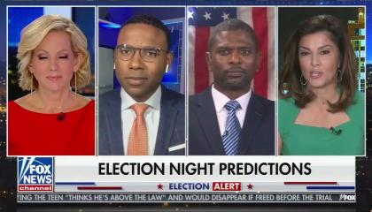 "Anchor shannon bream and three contributors, including Rachel Campos-Duffy on screen right, issuing ""Election Night Predictions"""