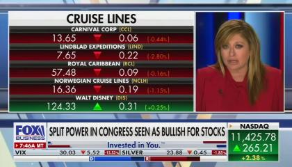 Fox Business anchor Maria Bartiromo, with most of the screen taken up by stock ticker information