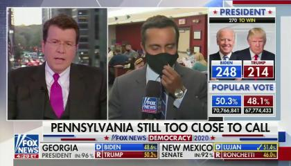 "chyron reads, ""PENNSYLVANIA STILL TOO CLOSE TO CALL"""