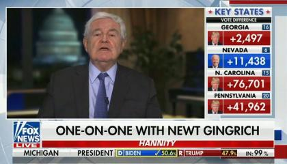 On Fox News, Newt Gingrich calls on Bill Barr to arrest election workers