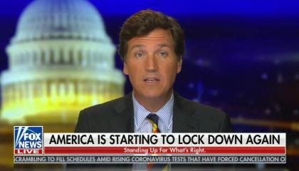 "chyron reads: ""America is starting to lock down again"""