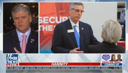 still of Sean Hannity, image of Brad Raffensperger
