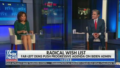 "chyron reads, ""RADICAL WISH LIST: FAR-LEFT DEMS PUSH PROGRESSIVE AGENDA ON BIDEN ADMIN"""