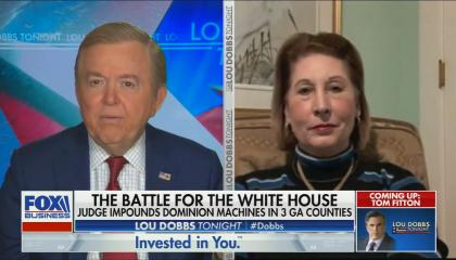 chyron reads: the battle for the White House, judge impounds Dominion machines in 3 GA counties