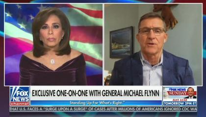 still of Pirro, Flynn; chyron: exclusive one-on-one with General Michael Flynn