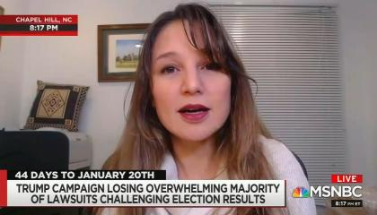 """Zeynep Tufecks on screen, chyron reads """"Trump campaign losing overwhelming majority of lawsuits challenging election results"""""""