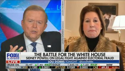 "Dobbs on screen on left, Powell on screen on right. Chyron reads ""The battle for the white house: Sidney Powell on legal fight against electoral fraud"""