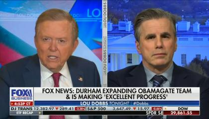 chyron reads: Fox news: Durham expanding Obamagate team & is making 'excellent progress'