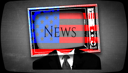 "A body with a TV for a head and an American flag overlay. The TV says ""News."""