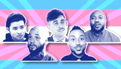 Five transmasculine people in front of a trans pride flag