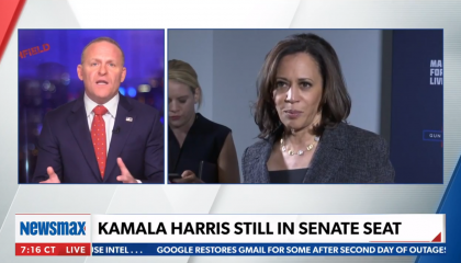 Newsmax's newest conspiracy theory claims Trump can still win since Kamala Harris hasn't resigned her Senate seat