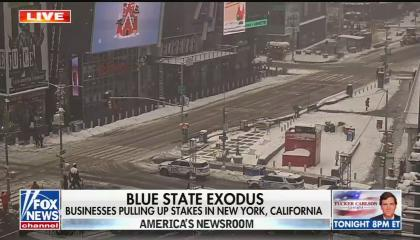 """A Fox News screenshot showing CCTV footage of Times Square, NYC, with the chyron """"Blue state exodus: Businesses pulling up stakes in New York, California"""""""