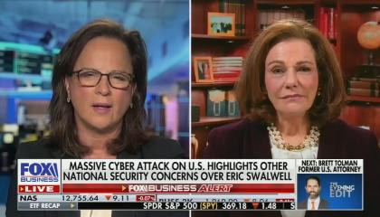 """Martha on left, KT on right; chyron reads: """"massive cyber attack on US highlights other national security concerns over Eric Swalwell"""""""