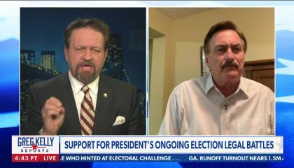 Sebastian Gorka on left, Mike Lindell on right; chyron reads: Support for President's ongoing election legal battles