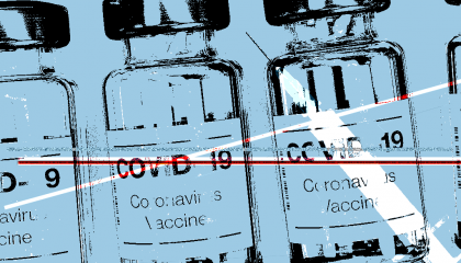 "An illustration of vials labeled ""COVID-19 Coronavirus Vaccine"""
